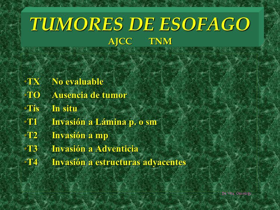 TUMORES DE ESOFAGO AJCC TNM TX No evaluableTX No evaluable TOAusencia de tumorTOAusencia de tumor TisIn situTisIn situ T1Invasión a Lámina p. o smT1In