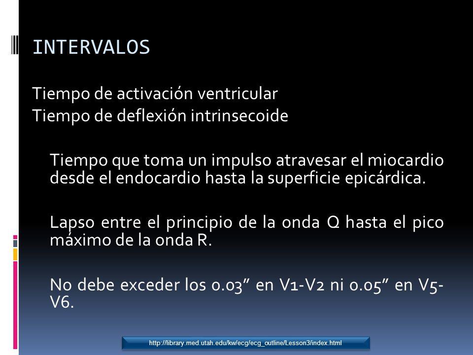 INTERVALOS Tiempo de activación ventricular Tiempo de deflexión intrinsecoide Tiempo que toma un impulso atravesar el miocardio desde el endocardio ha
