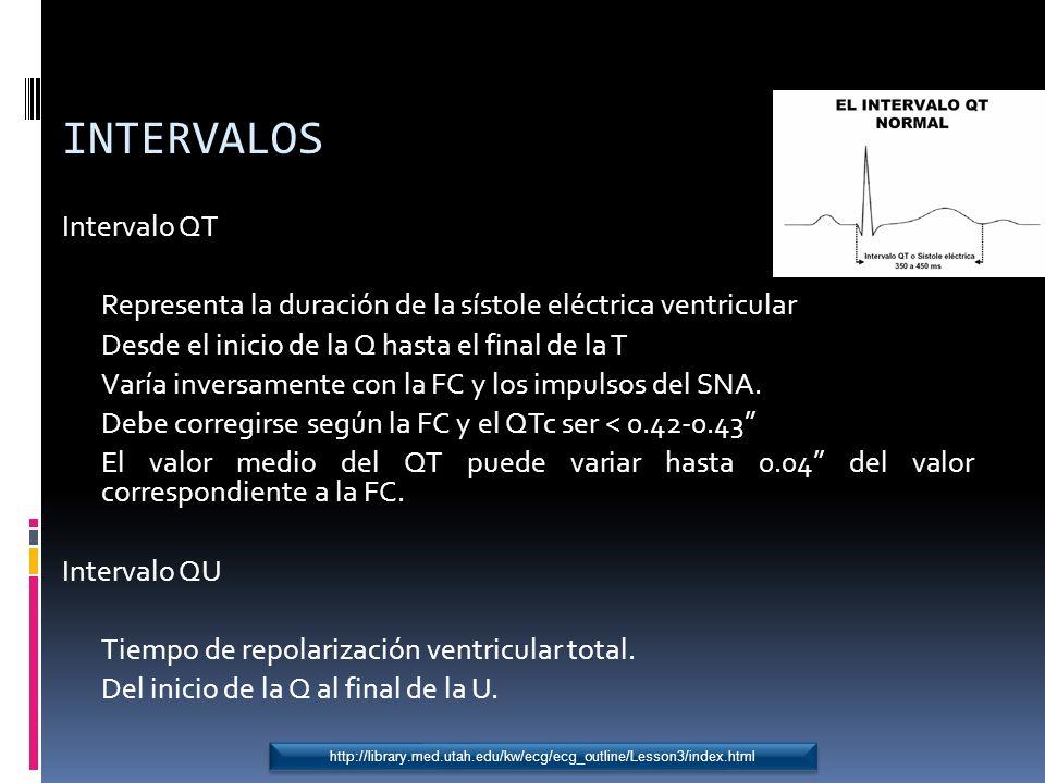 INTERVALOS Intervalo QT Representa la duración de la sístole eléctrica ventricular Desde el inicio de la Q hasta el final de la T Varía inversamente c