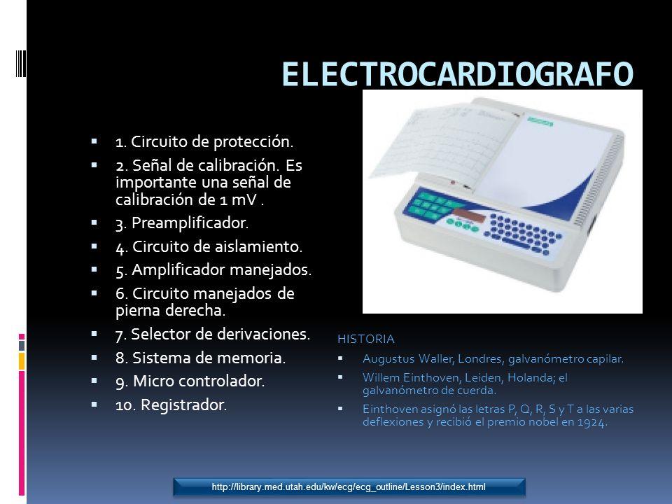 ELECTROCARDIOGRAFO 1. Circuito de protección. 2. Señal de calibración. Es importante una señal de calibración de 1 mV. 3. Preamplificador. 4. Circuito