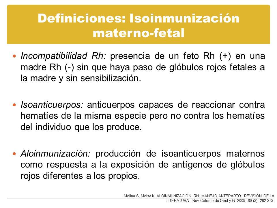 Definiciones: Isoinmunización materno-fetal Incompatibilidad Rh: presencia de un feto Rh (+) en una madre Rh (-) sin que haya paso de glóbulos rojos f