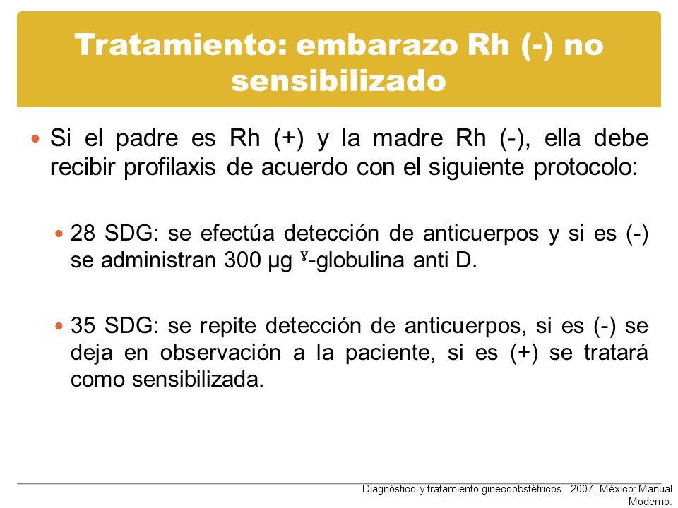 Tratamiento: embarazo Rh (-) no sensibilizado Si el padre es Rh (+) y la madre Rh (-), ella debe recibir profilaxis de acuerdo con el siguiente protoc