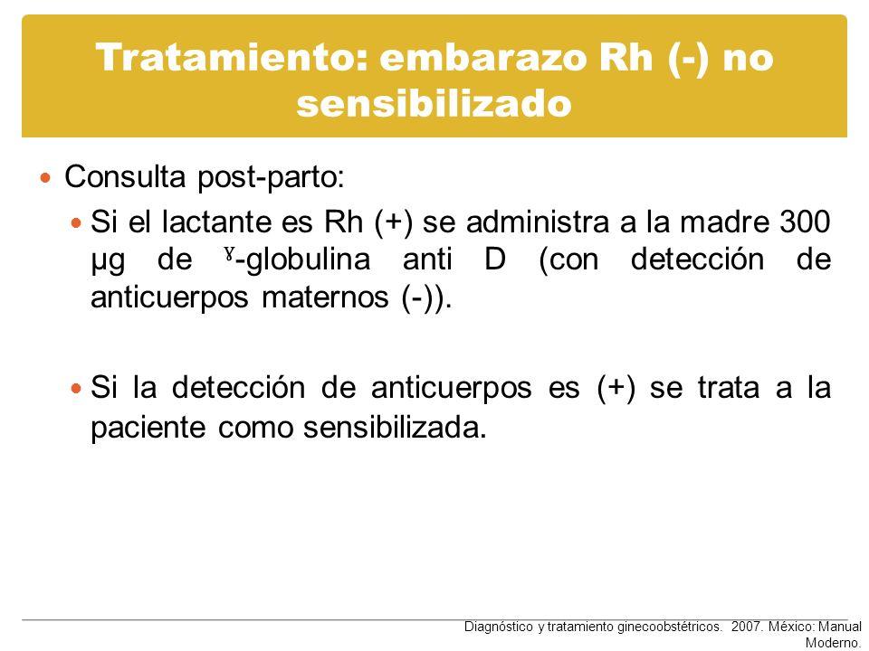 Tratamiento: embarazo Rh (-) no sensibilizado Consulta post-parto: Si el lactante es Rh (+) se administra a la madre 300 µg de ˠ -globulina anti D (co