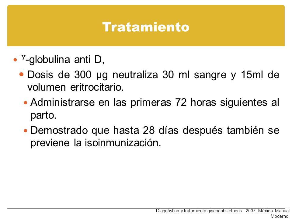 Tratamiento ˠ -globulina anti D, Dosis de 300 µg neutraliza 30 ml sangre y 15ml de volumen eritrocitario. Administrarse en las primeras 72 horas sigui