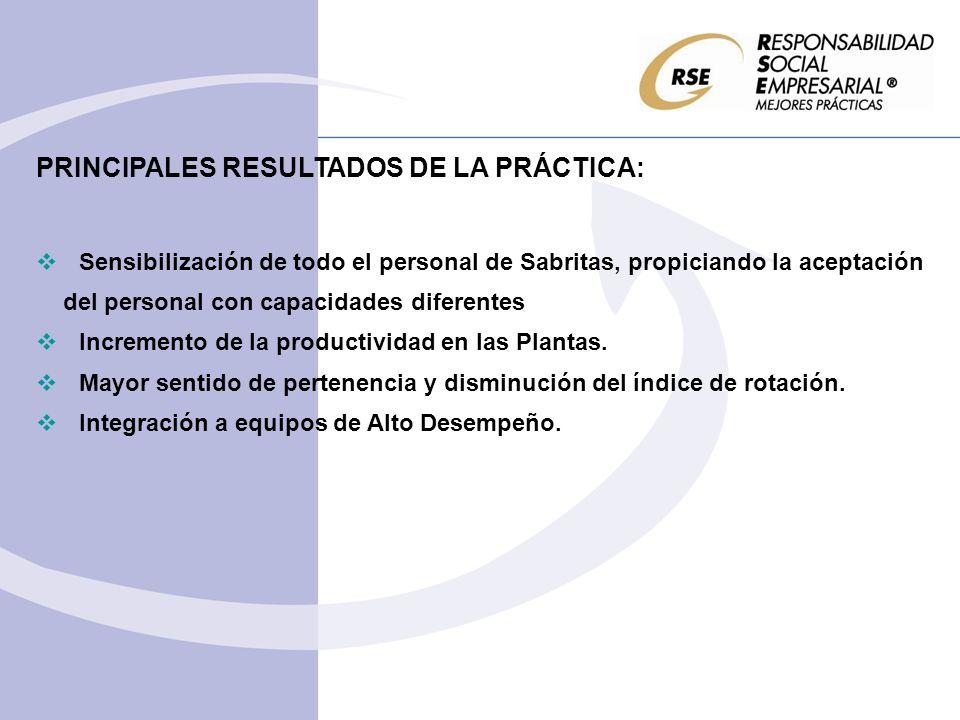 REPERCUSIÓN ENTRE EL PERSONAL DE LA EMPRESA: Fomenta la integración social y productiva del personal con capacidades diferenciadas.
