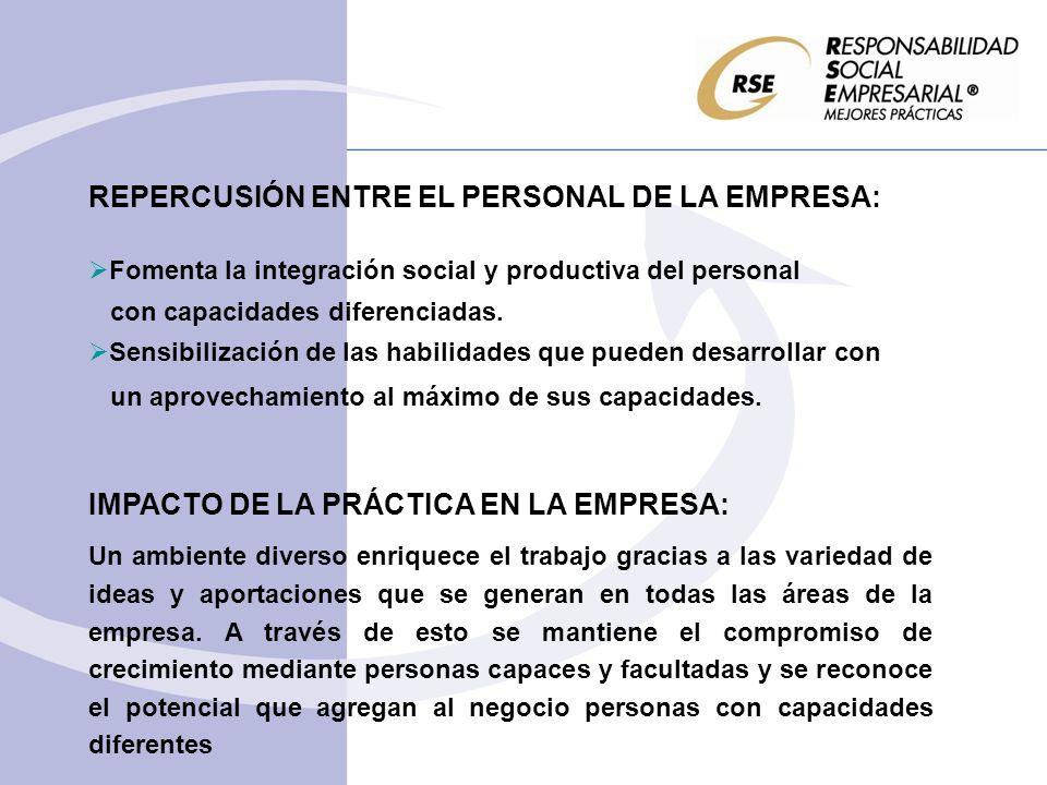 IMPACTO DE LA PRÁCTICA EN LA COMUNIDAD: Integrar personal con capacidades diferentes y generar oportunidades que se traduzcan en elevar la calidad de vida y desarrollo humano.