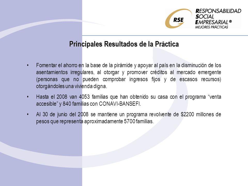 Principales Resultados de la Práctica Fomentar el ahorro en la base de la pirámide y apoyar al país en la disminución de los asentamientos irregulares