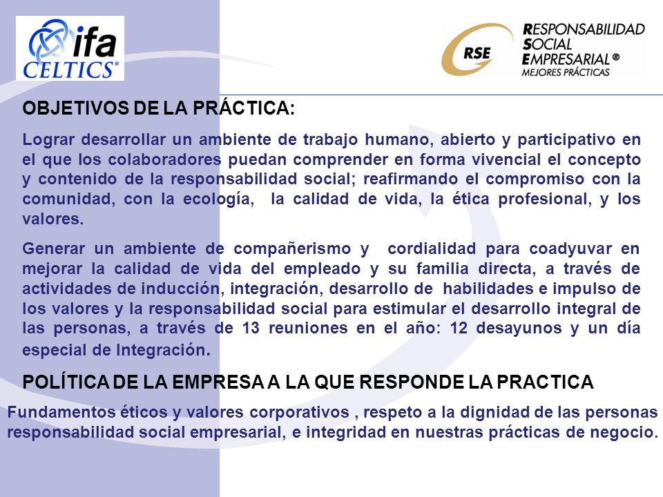 OBJETIVOS DE LA PRÁCTICA: Lograr desarrollar un ambiente de trabajo humano, abierto y participativo en el que los colaboradores puedan comprender en f