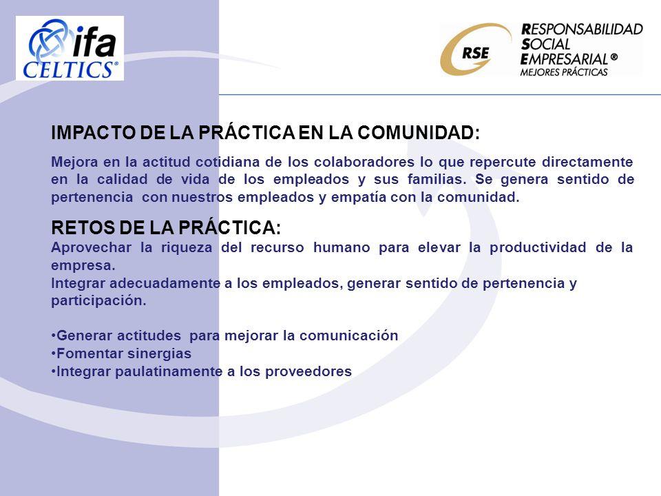 IMPACTO DE LA PRÁCTICA EN LA COMUNIDAD: Mejora en la actitud cotidiana de los colaboradores lo que repercute directamente en la calidad de vida de los