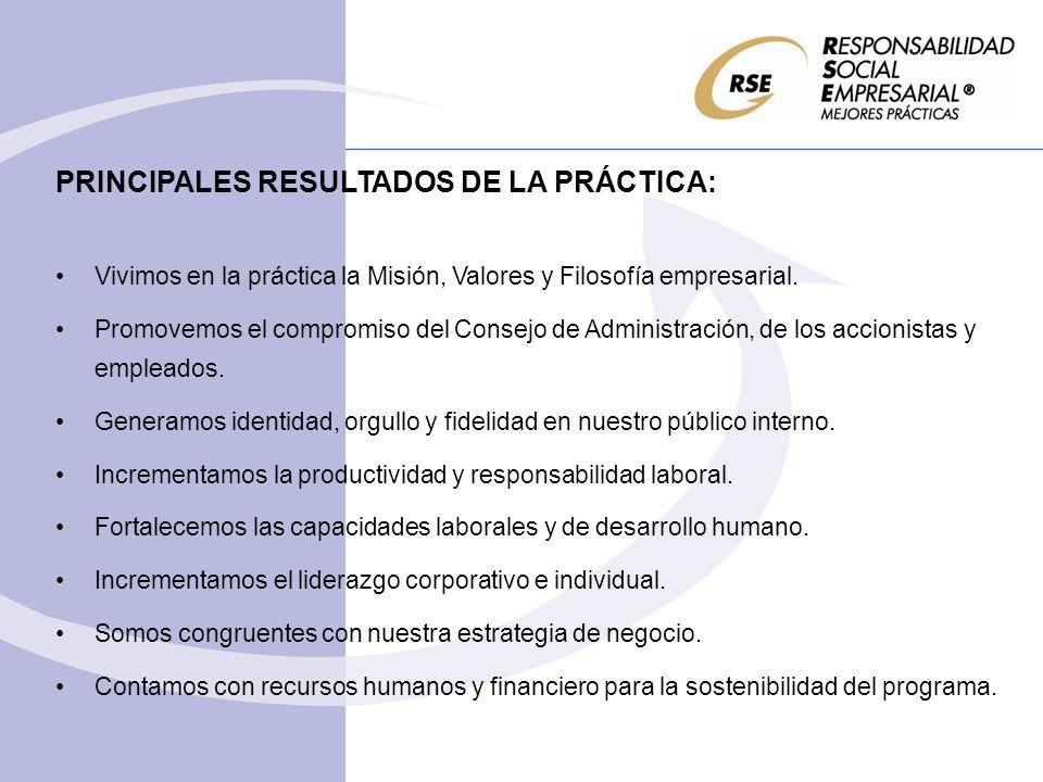 PRINCIPALES RESULTADOS DE LA PRÁCTICA: Vivimos en la práctica la Misión, Valores y Filosofía empresarial. Promovemos el compromiso del Consejo de Admi