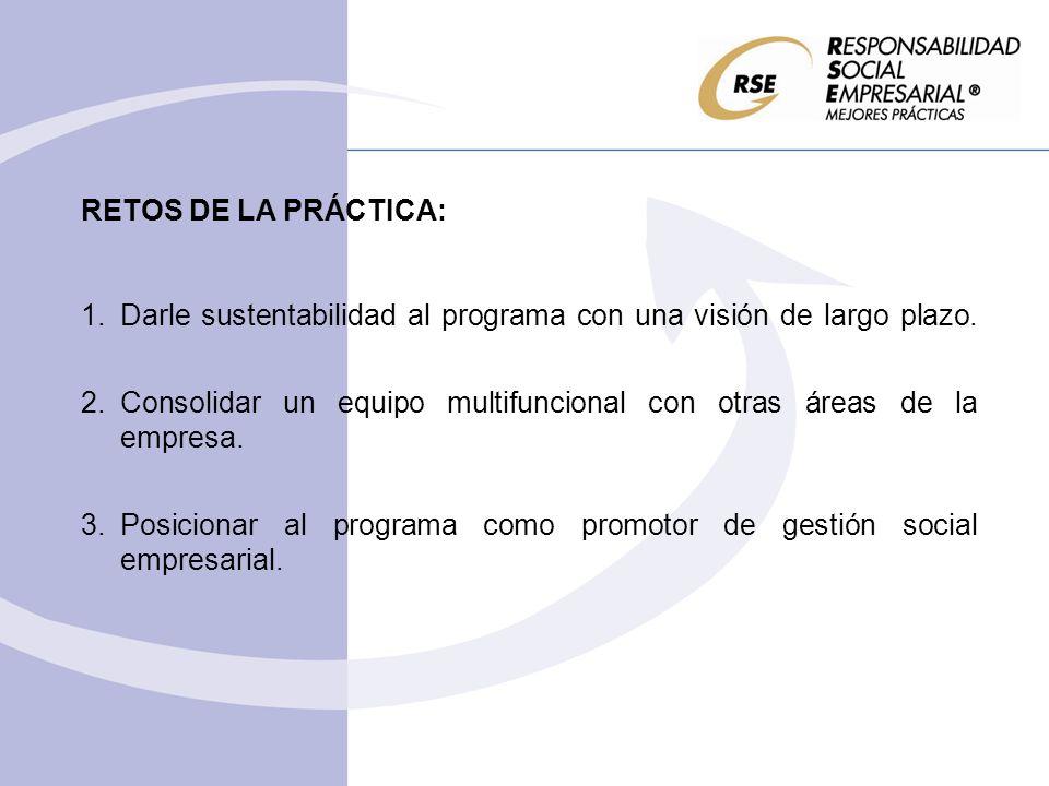 RETOS DE LA PRÁCTICA: 1.Darle sustentabilidad al programa con una visión de largo plazo. 2.Consolidar un equipo multifuncional con otras áreas de la e