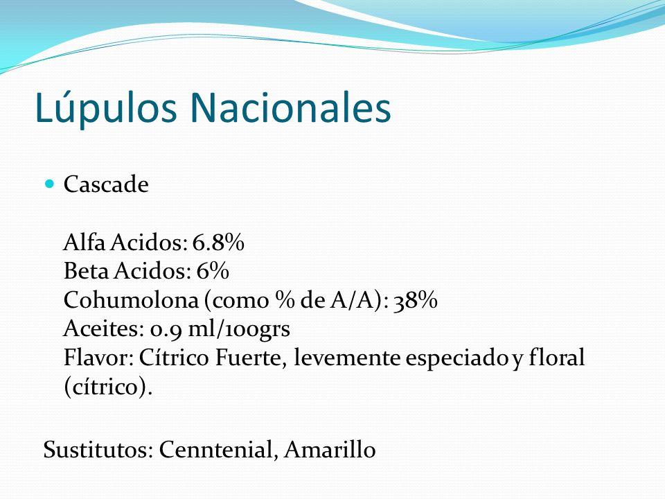 Lúpulos Nacionales Cascade Alfa Acidos: 6.8% Beta Acidos: 6% Cohumolona (como % de A/A): 38% Aceites: 0.9 ml/100grs Flavor: Cítrico Fuerte, levemente