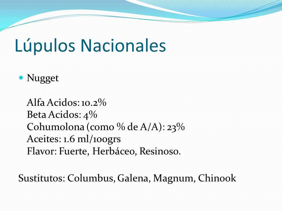 Lúpulos Nacionales Nugget Alfa Acidos: 10.2% Beta Acidos: 4% Cohumolona (como % de A/A): 23% Aceites: 1.6 ml/100grs Flavor: Fuerte, Herbáceo, Resinoso