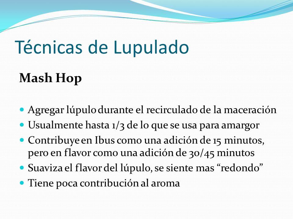 Técnicas de Lupulado First Wort Hop Agregar lúpulo durante el llenado de la olla, antes de hervir Usualmente hasta 1/3 de lo que se usa para amargor Contribuye en Ibus como una adición de 60 minutos, pero en flavor como una adición de 20 minutos.