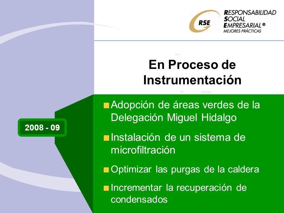 2008 - 09 Adopción de áreas verdes de la Delegación Miguel Hidalgo Instalación de un sistema de microfiltración Optimizar las purgas de la caldera Incrementar la recuperación de condensados En Proceso de Instrumentación