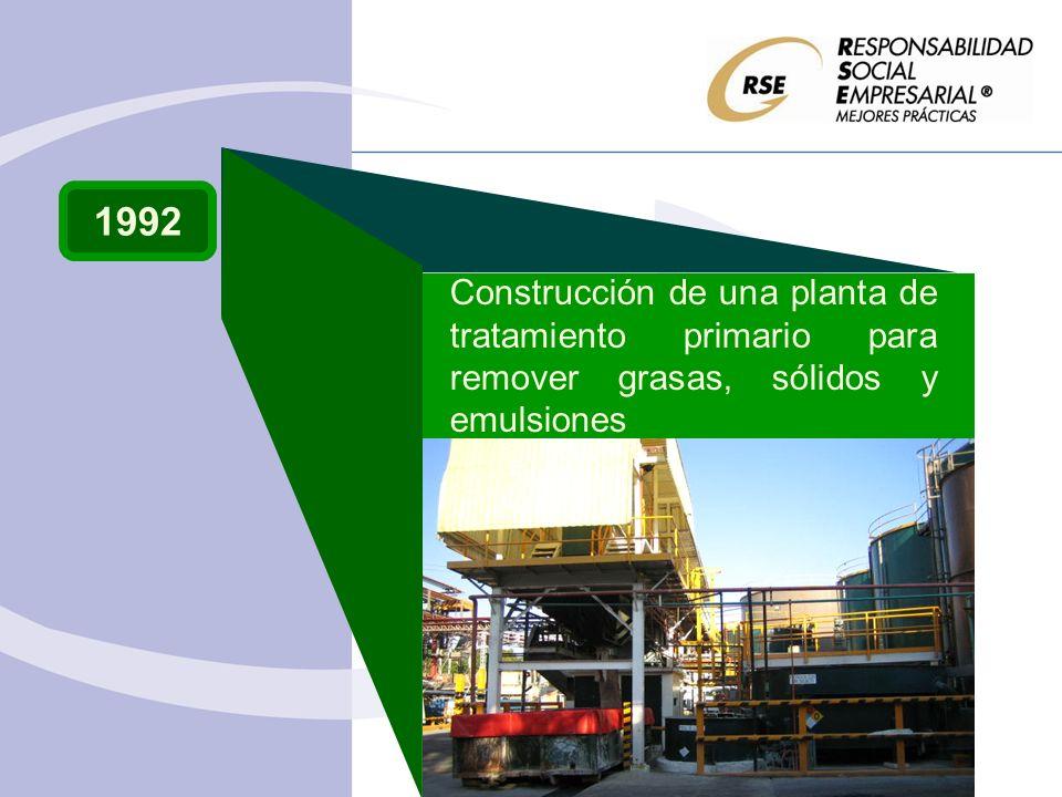 1992 Construcción de una planta de tratamiento primario para remover grasas, sólidos y emulsiones