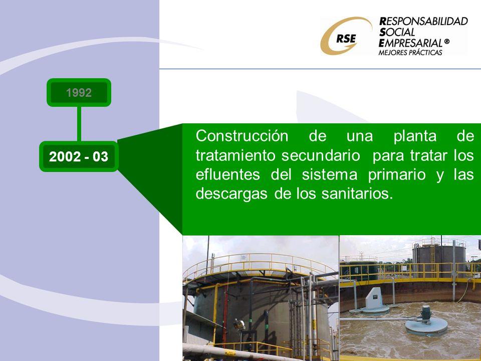 1992 2002 - 03 Construcción de una planta de tratamiento secundario para tratar los efluentes del sistema primario y las descargas de los sanitarios.