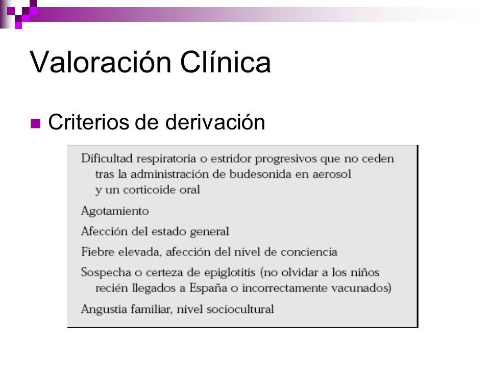 Valoración Clínica Criterios de derivación