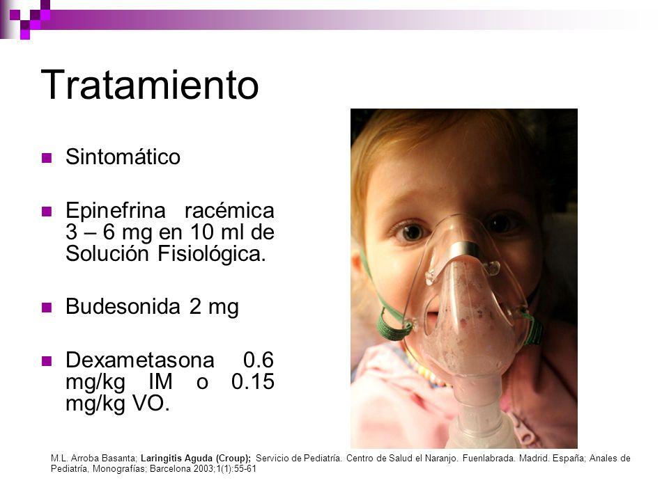 Tratamiento Sintomático Epinefrina racémica 3 – 6 mg en 10 ml de Solución Fisiológica. Budesonida 2 mg Dexametasona 0.6 mg/kg IM o 0.15 mg/kg VO. M.L.