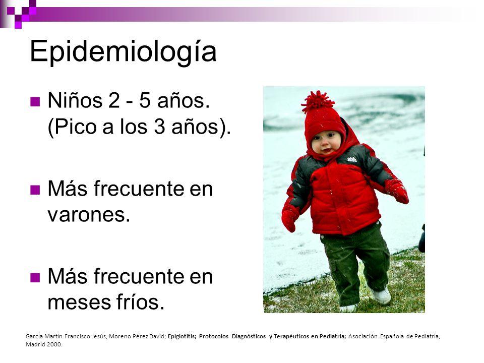 Epidemiología Niños 2 - 5 años. (Pico a los 3 años). Más frecuente en varones. Más frecuente en meses fríos. García Martín Francisco Jesús, Moreno Pér