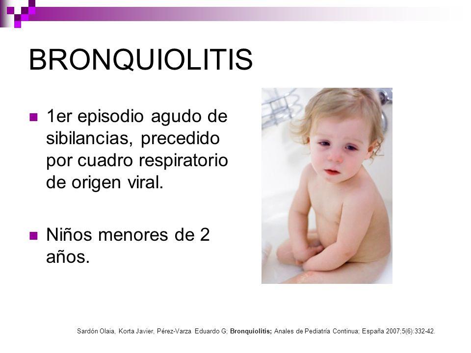 Epidemiología Niños menores 2 años (pico al año).Mayor riesgo en prematuros.