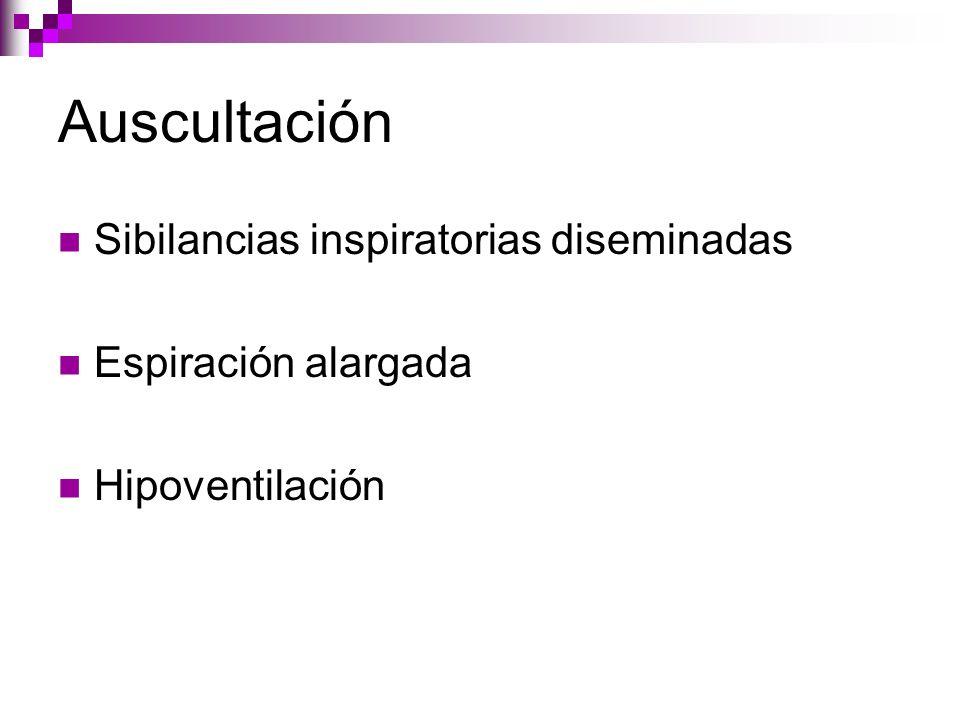 Auscultación Sibilancias inspiratorias diseminadas Espiración alargada Hipoventilación