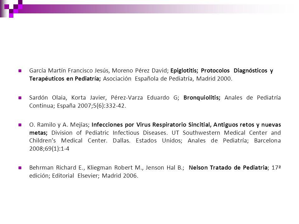 García Martín Francisco Jesús, Moreno Pérez David; Epiglotitis; Protocolos Diagnósticos y Terapéuticos en Pediatría; Asociación Española de Pediatría,