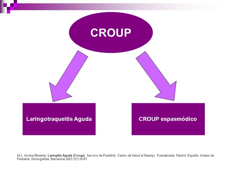 CROUP Laringotraqueitis AgudaCROUP espasmódico M.L. Arroba Basanta; Laringitis Aguda (Croup); Servicio de Pediatría. Centro de Salud el Naranjo. Fuenl