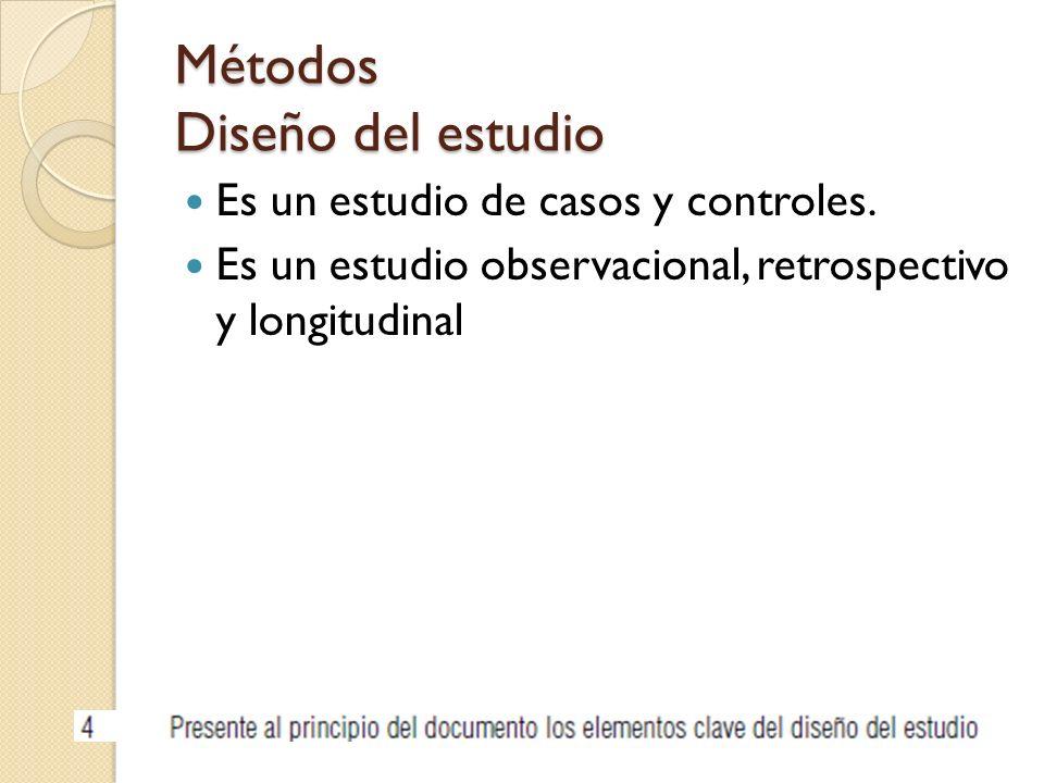 Métodos Diseño del estudio Es un estudio de casos y controles. Es un estudio observacional, retrospectivo y longitudinal