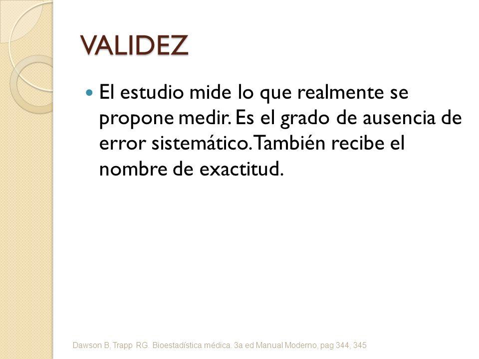 VALIDEZ INTERNA El grado de validez del resultado para los pacientes del estudio.