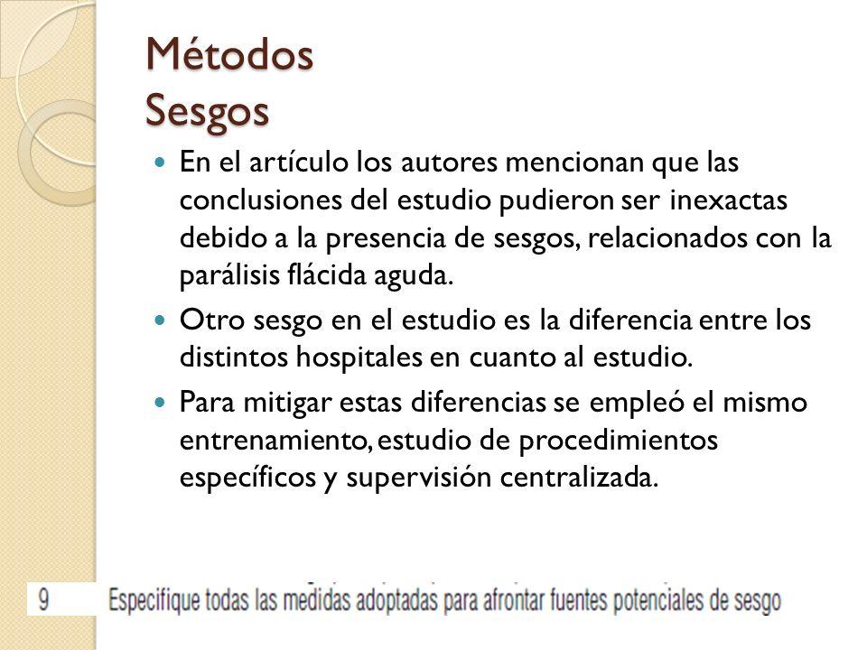 Métodos Sesgos En el artículo los autores mencionan que las conclusiones del estudio pudieron ser inexactas debido a la presencia de sesgos, relacionados con la parálisis flácida aguda.