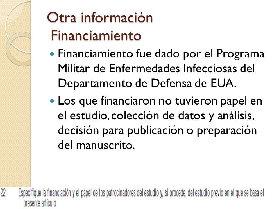 Otra información Financiamiento Financiamiento fue dado por el Programa Militar de Enfermedades Infecciosas del Departamento de Defensa de EUA. Los qu