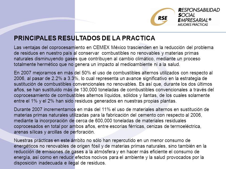 PRINCIPALES RESULTADOS DE LA PRACTICA Las ventajas del coprocesamiento en CEMEX México trascienden en la reducción del problema de residuos en nuestro