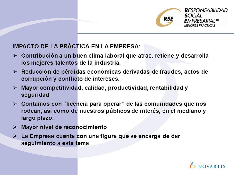 IMPACTO DE LA PRÁCTICA EN LA EMPRESA: Contribución a un buen clima laboral que atrae, retiene y desarrolla los mejores talentos de la industria. Reduc