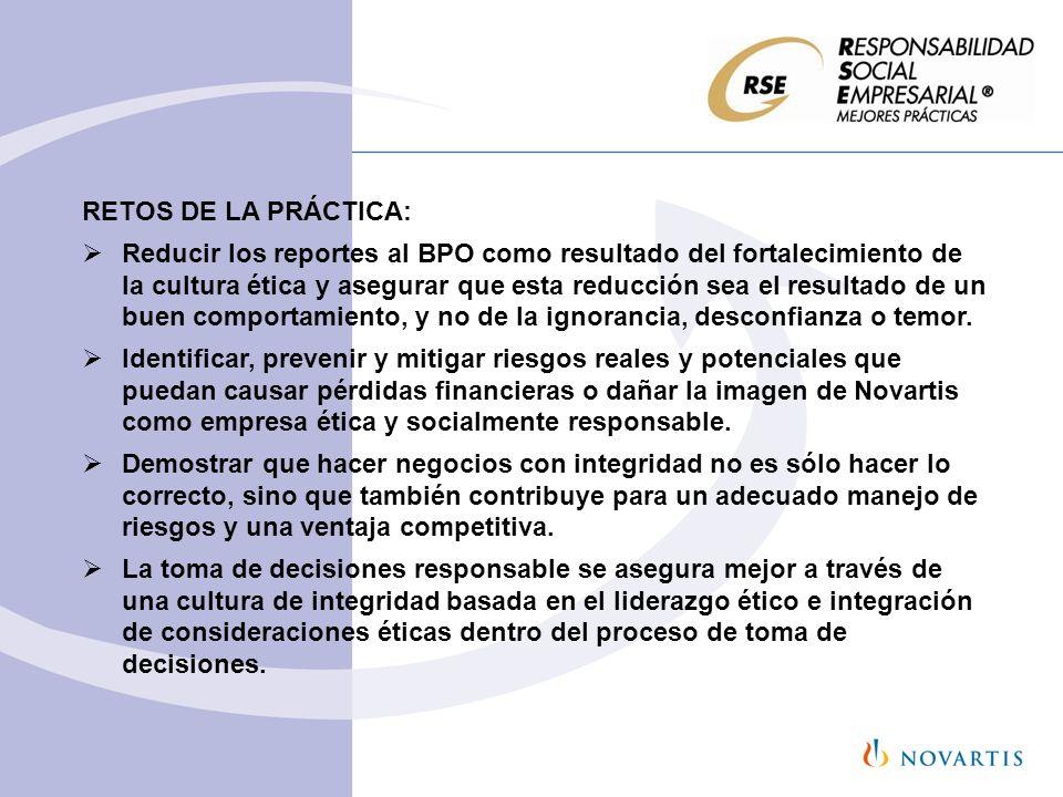 RETOS DE LA PRÁCTICA: Reducir los reportes al BPO como resultado del fortalecimiento de la cultura ética y asegurar que esta reducción sea el resultad