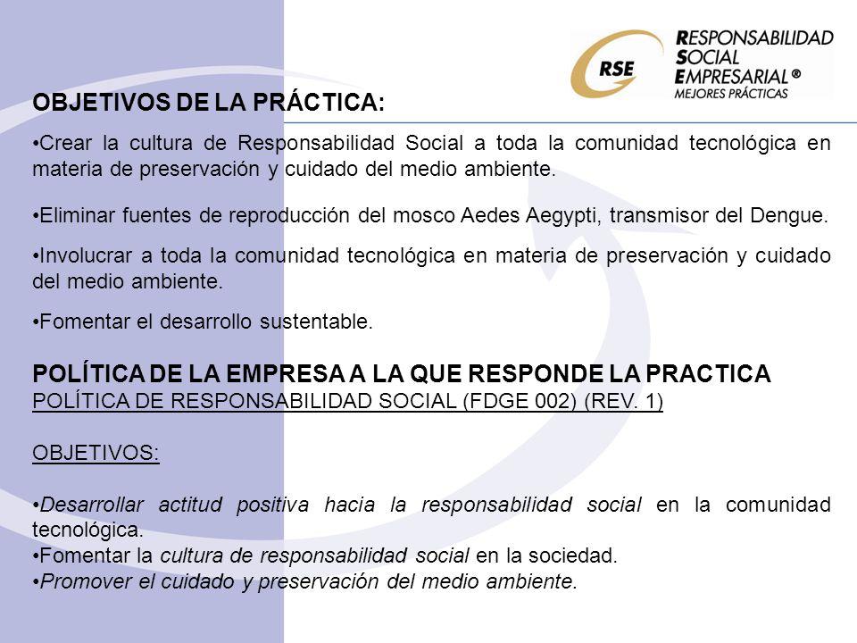 OBJETIVOS DE LA PRÁCTICA: Crear la cultura de Responsabilidad Social a toda la comunidad tecnológica en materia de preservación y cuidado del medio am