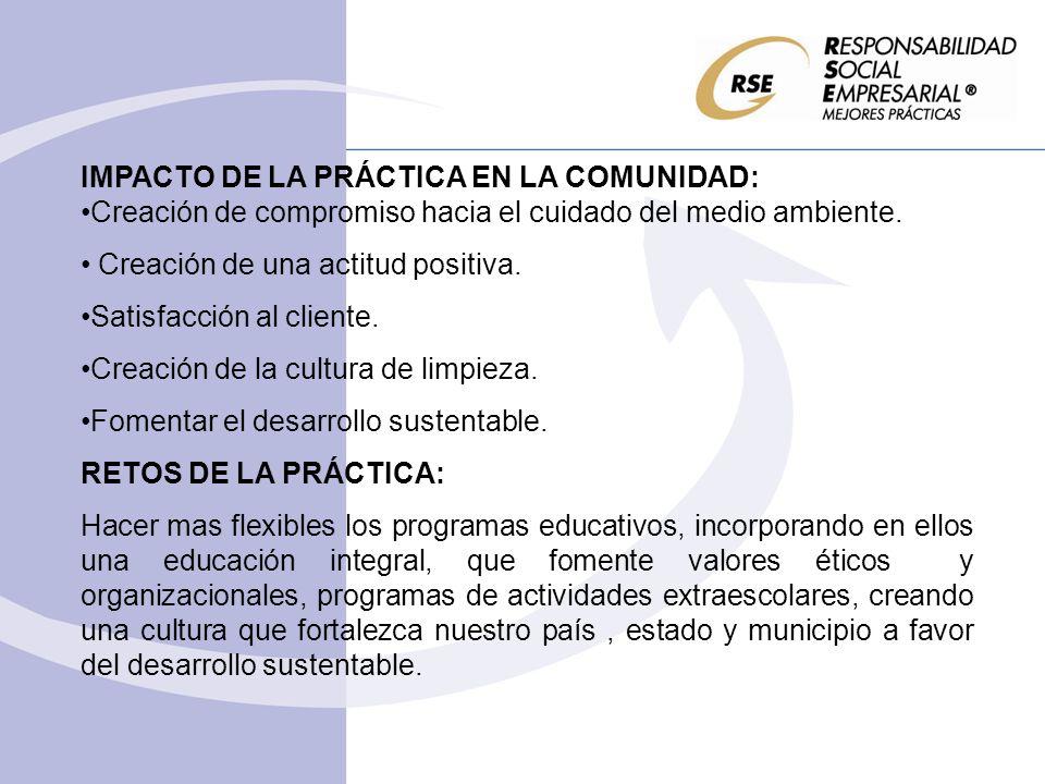 IMPACTO DE LA PRÁCTICA EN LA COMUNIDAD: Creación de compromiso hacia el cuidado del medio ambiente. Creación de una actitud positiva. Satisfacción al