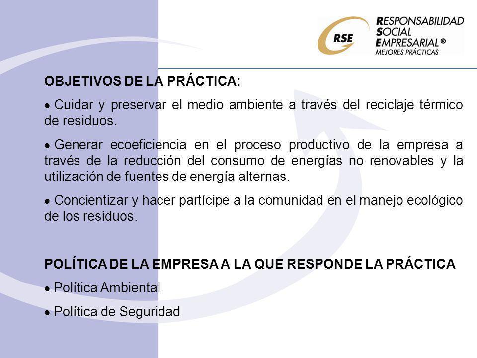 OBJETIVOS DE LA PRÁCTICA: Cuidar y preservar el medio ambiente a través del reciclaje térmico de residuos. Generar ecoeficiencia en el proceso product