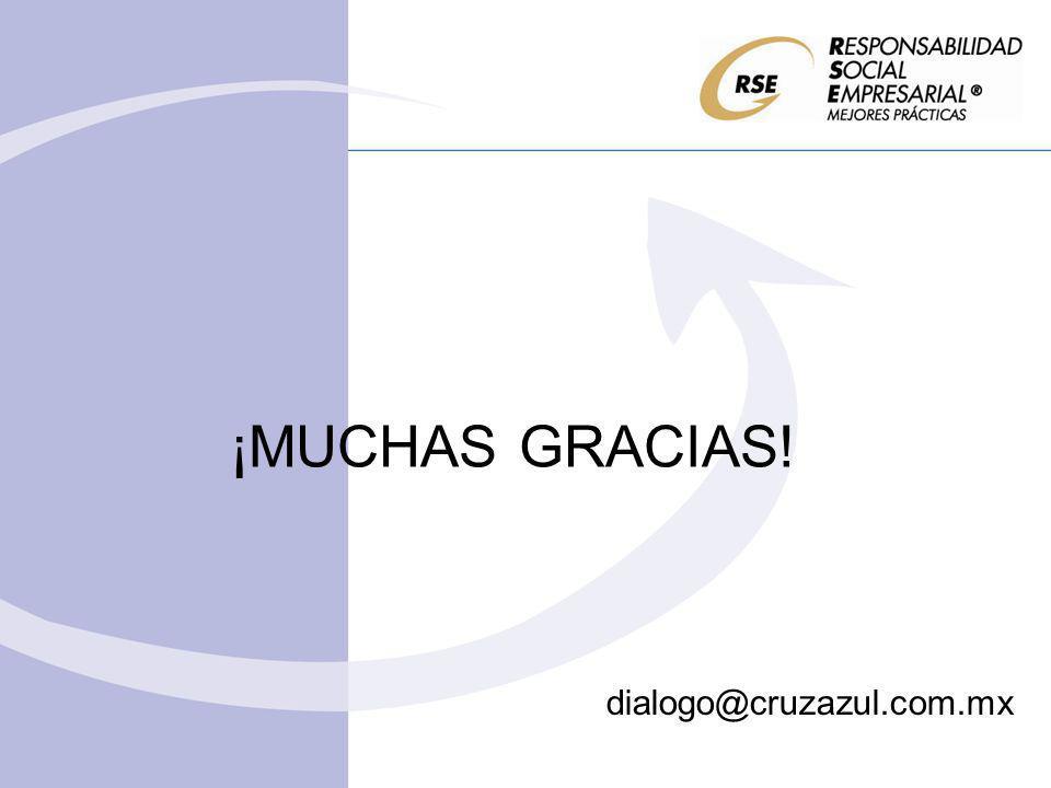 ¡MUCHAS GRACIAS! dialogo@cruzazul.com.mx