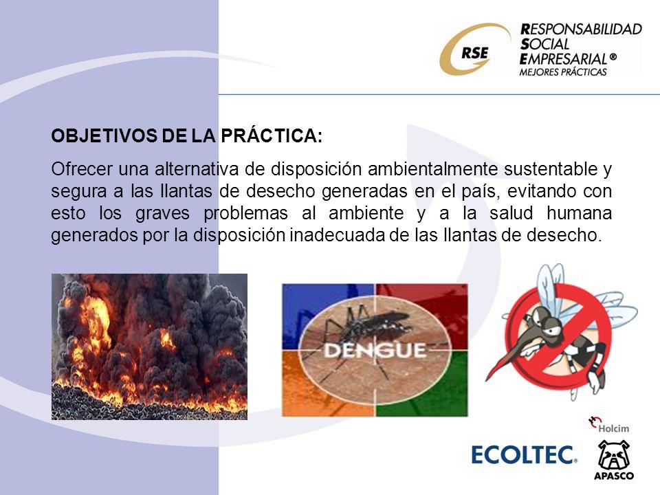 PRINCIPALES RESULTADOS DE LA PRÁCTICA: De 2000 a 2008 se han dispuesto, mediante el coprocesamiento en plantas cementeras de Holcim Apasco, casi 6 millones de llantas de desecho.