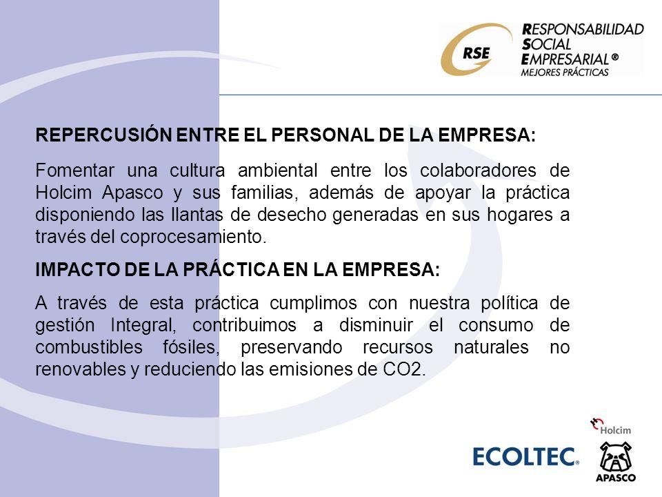 REPERCUSIÓN ENTRE EL PERSONAL DE LA EMPRESA: Fomentar una cultura ambiental entre los colaboradores de Holcim Apasco y sus familias, además de apoyar