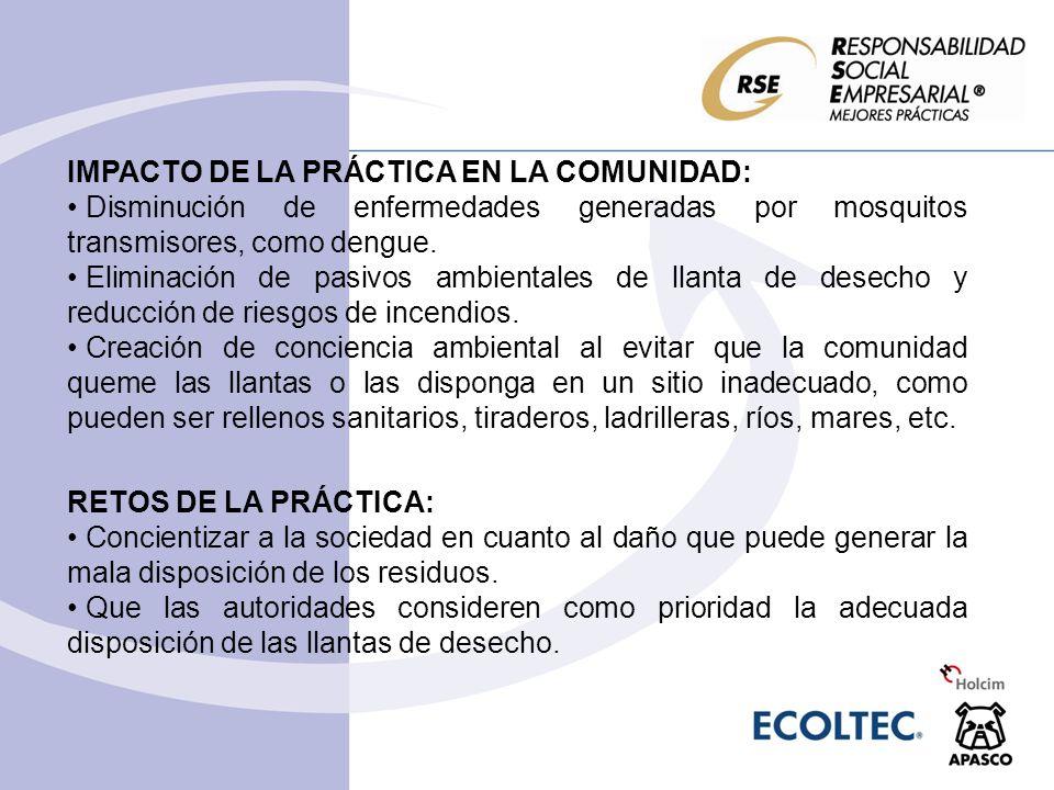 IMPACTO DE LA PRÁCTICA EN LA COMUNIDAD: Disminución de enfermedades generadas por mosquitos transmisores, como dengue. Eliminación de pasivos ambienta