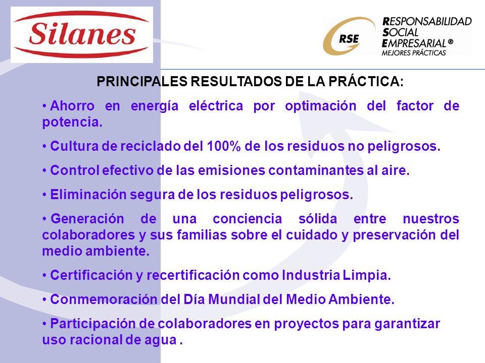 PRINCIPALES RESULTADOS DE LA PRÁCTICA: Ahorro en energía eléctrica por optimación del factor de potencia.