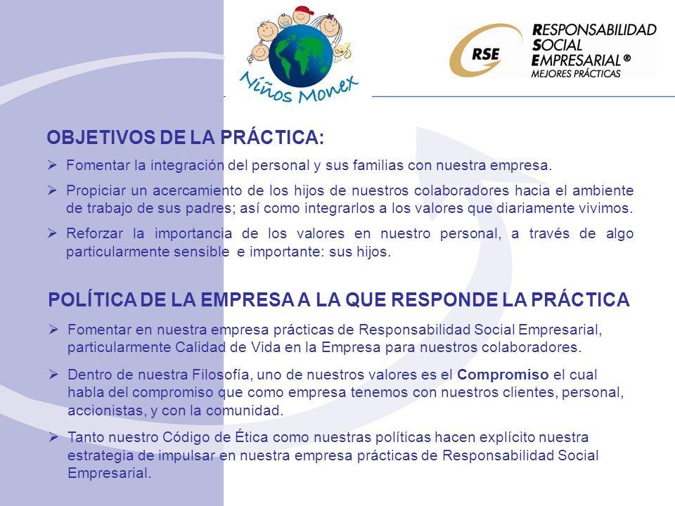 OBJETIVOS DE LA PRÁCTICA: Fomentar la integración del personal y sus familias con nuestra empresa.