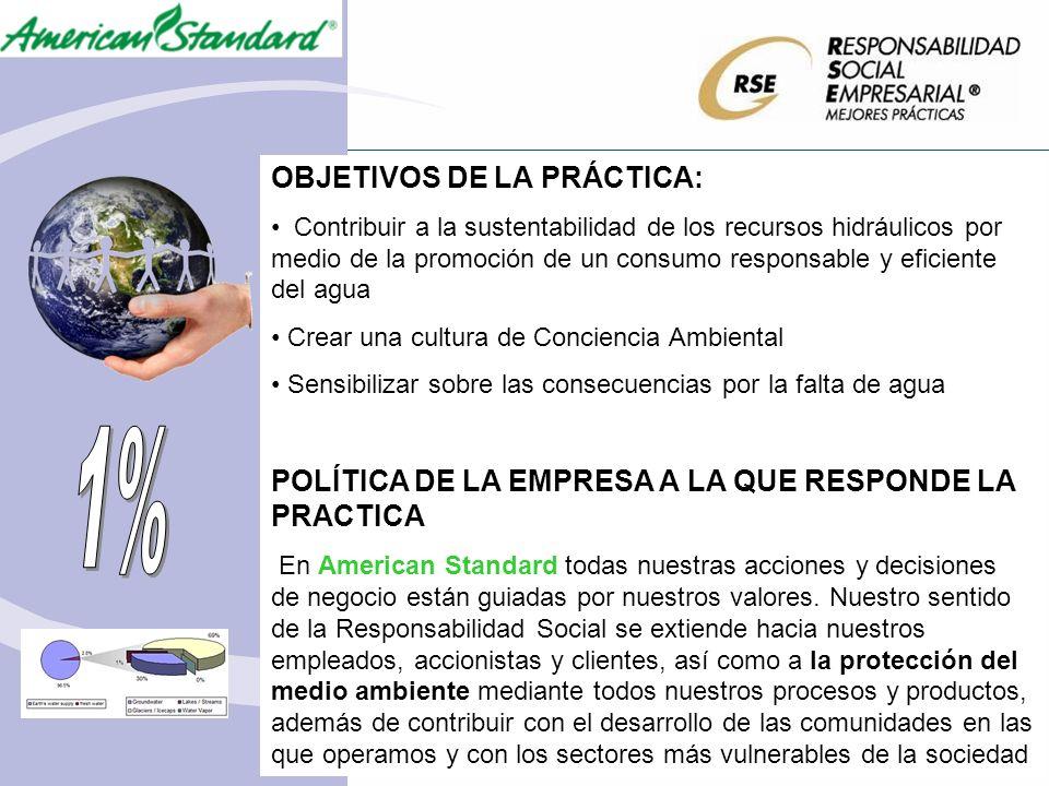 OBJETIVOS DE LA PRÁCTICA: Contribuir a la sustentabilidad de los recursos hidráulicos por medio de la promoción de un consumo responsable y eficiente