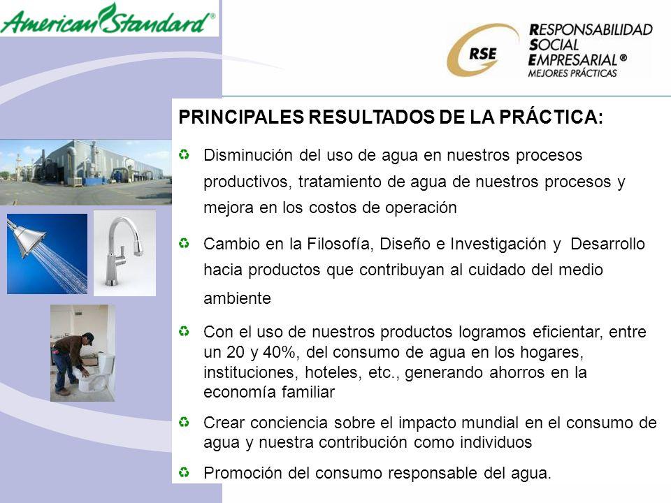 PRINCIPALES RESULTADOS DE LA PRÁCTICA: Disminución del uso de agua en nuestros procesos productivos, tratamiento de agua de nuestros procesos y mejora