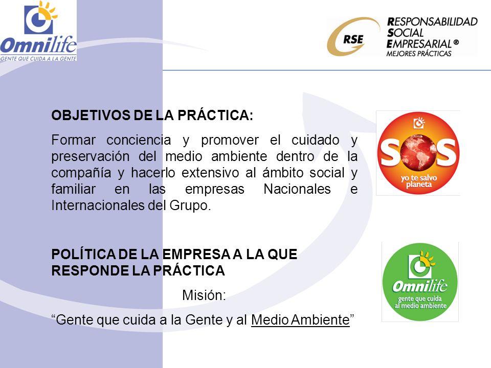 OBJETIVOS DE LA PRÁCTICA: Formar conciencia y promover el cuidado y preservación del medio ambiente dentro de la compañía y hacerlo extensivo al ámbit