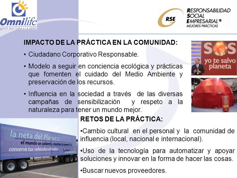 IMPACTO DE LA PRÁCTICA EN LA COMUNIDAD: Ciudadano Corporativo Responsable. Modelo a seguir en conciencia ecológica y prácticas que fomenten el cuidado