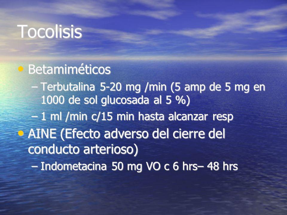 Tocolisis Betamiméticos Betamiméticos –Terbutalina 5-20 mg /min (5 amp de 5 mg en 1000 de sol glucosada al 5 %) –1 ml /min c/15 min hasta alcanzar res