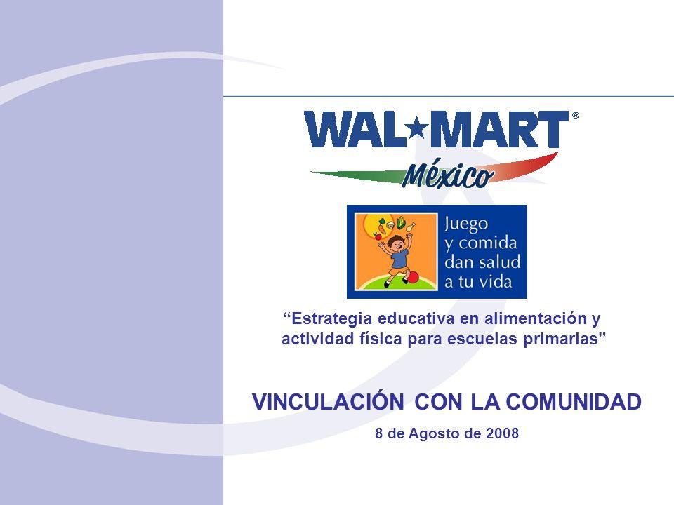 VINCULACIÓN CON LA COMUNIDAD 8 de Agosto de 2008 Estrategia educativa en alimentación y actividad física para escuelas primarias